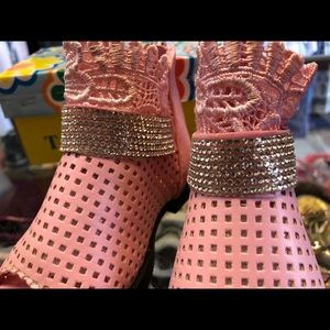 Other - Pink Rhinestones With Lace Sandals 2/21